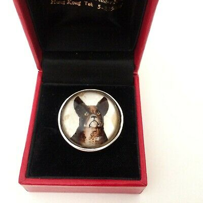 Antique Victorian Essex Crystal & Sterling Silver 'French Bulldog' Ring -  B