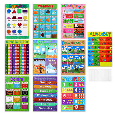 10PCS Toddlers Baby Kids Preschoolers Educational Preschool Color Posters Charts