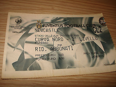 Billet Ticket Champions League Juventus FC Newcastle 01/10/2002 Courbe Nord
