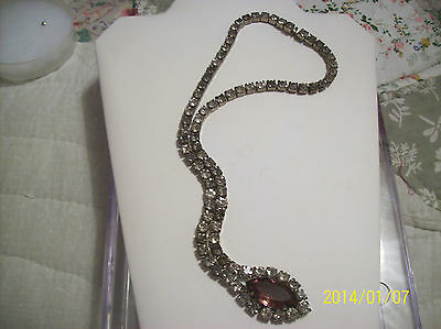 Necklace Antique Rare Amethyst Chuncky Glass Stones & Rhinestones