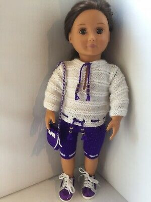 Hand Knitted Purple And White Summer Outfit Our Generation Doll