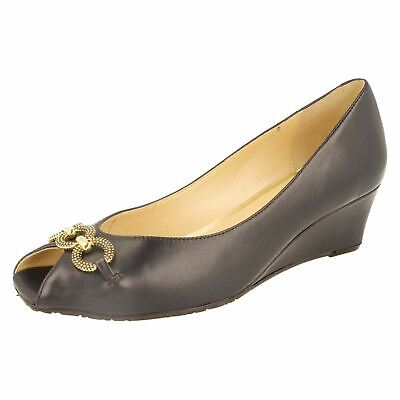 LADIES VAN DAL FLORIDA ll WEDGE HEEL PEEP TOE SLIP ON BOW DETAIL SMART SHOES