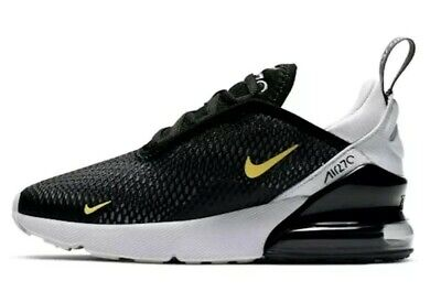 New Boys Girls Kids Nike Air Max 270 PS Black Grey Yellow Trainers UK Size 11.5K