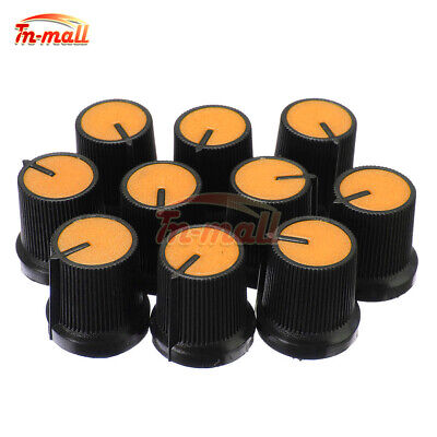 10PCS Black Knob Orange Face Plastic for Rotary Taper Potentiometer Hole 6mm