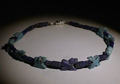 Ancient Mixed Lapis & Amulet Bead Necklace - Circa 2Nd Century Ad -  014