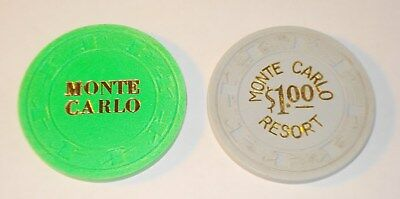 Monte Carlo .25 & $1.00 Casino Chips Laughlin NV Lot of 2 Hat & Cane Mold