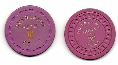 Overland Hotel .10 Casino Chips Reno NV TCR# N5427 N5424 Lot of 2