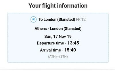 Two flight tickets from Athens Greece to London Stansted November 17