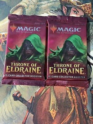 X2 Magic The Gathering MTG Throne of Eldraine Collector Booster Pack Sealed New