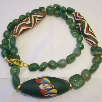 Old Jade stone Wonderful Old Mosaic Glass Bead face Lovely Necklace  # 48