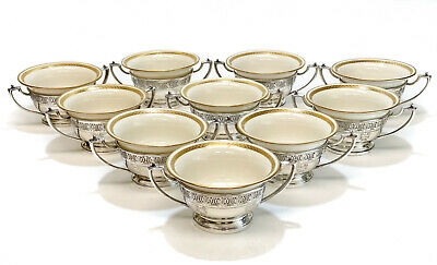 10 Whiting Sterling Silver Overlay and Lenox Porcelain Bouillon Bowls #C125