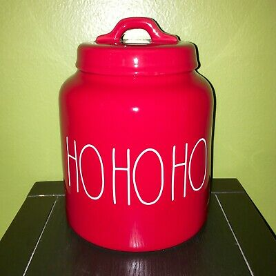 "New RAE DUNN Holiday Christmas LL ""HO HO HO"" Red 8"" Canister By Magenta"