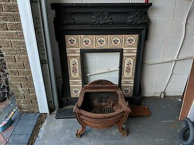 Antique Victorian cast iron fireplace with basket and mantel, original tiles