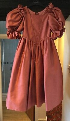 GIRL'S VINTAGE 1980's VICTORIAN STYLE GINGER BRIDESMAID DRESS