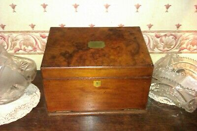 Antique Burr Walnut Stationary Box Writing Slope