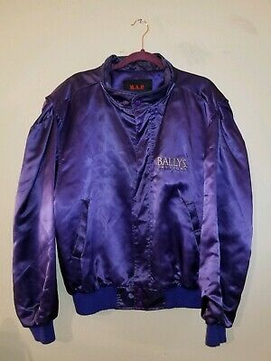 Bally's LAS VEGAS JACKET vintage  80s 90s size LARGE purple and gold r/n 87911