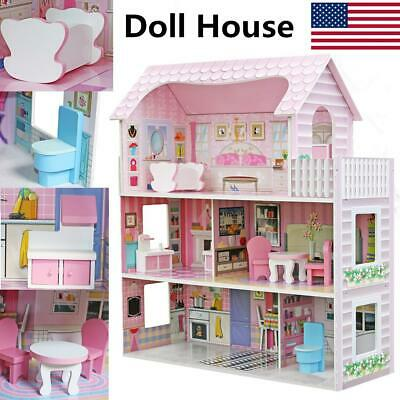 Large Children's Wooden Pink Dollhouse Fits Barbie Doll House With 8Pc Furniture