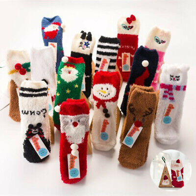 Christmas Animal Gift Girls Women Socks Winter Warm Sleep Fluffy Xmas Bed