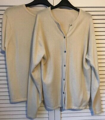 Vintage Cream 100% Cashmere Twin Set L XL Upcycling Craft (flaw) Cardigan Jumper