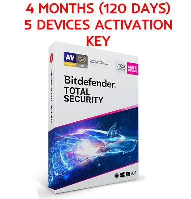 Bitdefender Total Security 2020/19 120 days 5 devices GLOBAL license key + GIFT