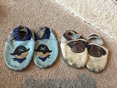 Robeez Baby Boy Lot 12-18 Months Shoes Moccasins Leather Pirate Puppy 2 Pairs E