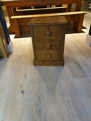 Beautifully Made Antique Solid Pine 3 Drawer Bedside Cabinet