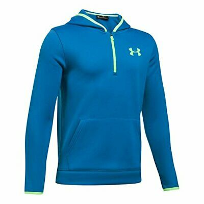 Under Armour Boys Hoodie, Blue/Lime, Youth X-Small
