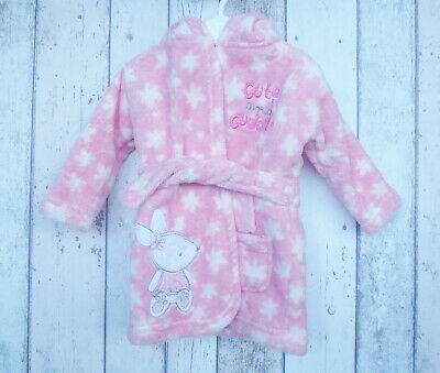** Cute Baby Girl Hooded Bunny Dressing Gown - George (0 - 6 months) **
