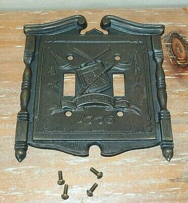 L@@K 1968 Vintage 1776 American Tack Brass Double Light Switch Plate Fyfe & Drum