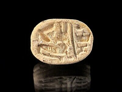 Ancient Egyptian Scarab - Crouching Sphinx With Plummed Headress; 1200-1100 Bc