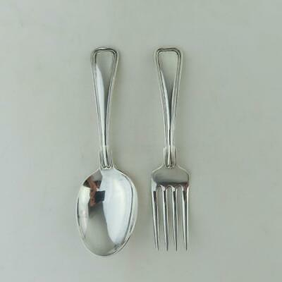 Antique Gorham Baby Sterling Silver Spoon and Fork Set Baby Shower Gift 1940s
