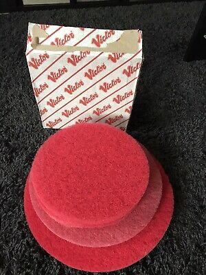 4x VICTOR RED FLOOR SCRUBBER PADS 17 15 12 12