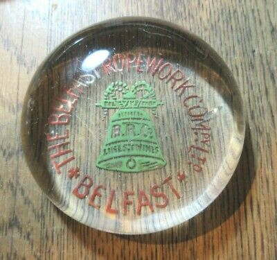 Antique  Advertising Dome Paperweight Belfast Ropework Company Brc Lines Twines