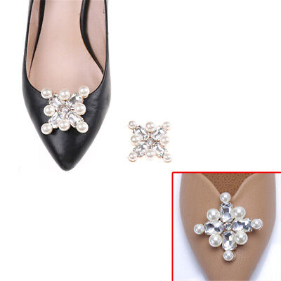 1PC Shoe Clips Faux Pearl Rhinestones Alloy Bridal Prom Shoes Buckle Dec FE