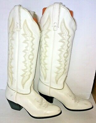 VTG Kenny Rogers Womens White Western Cowgirl Cowboy Leather Riding Boots Sz 7M