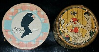 2 Face Powder Boxes/Antique Deco 1920's Flapper /Vintage 1930's Armand Make-Up