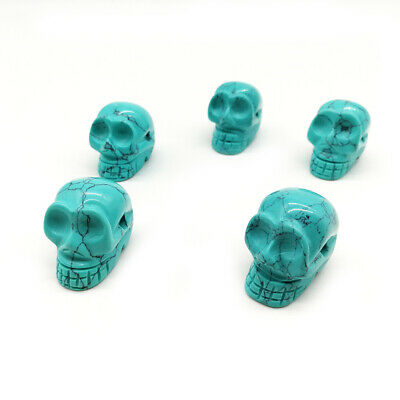 Turquoise Nature Carved Quartz Crystal Stone Skull Healing Figurines Gift 0.8""
