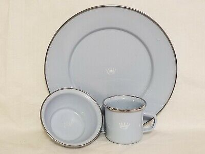 Blue Enamel Baby Toddler Plate, Cup, and Bowl Crown Feeding Set Dinnerware