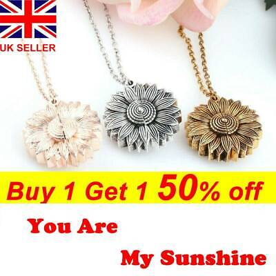 "You Are My Sunshine ""Open Locket Sunflower Pendant Necklace Women's Gifts UK"