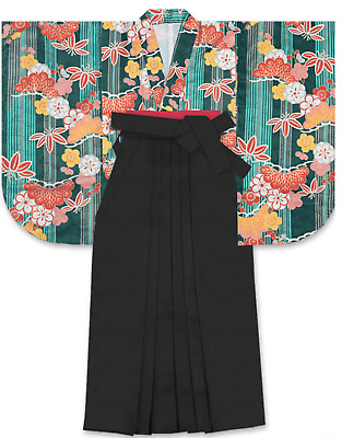 Japanese Women's Traditional Kimono HAKAMA Skirt Obi Belt Set 14 Black