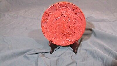 Antique Chinese Carved Dragon Red Lacquer Cinnabar Dish