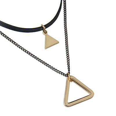 Bohemian Double Layer Choker Leather Clavicle Necklace Triangle Pendant
