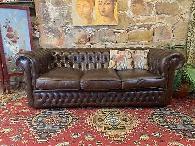 Vintage Chesterfield Brown Leather 3 Seater Lounge Chair~Sofa~Gascoigne