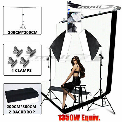 2x Studio Easy Softbox Lighting KIT 2X3M Photography Backdrop Support Stand SET