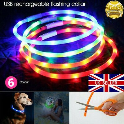 USB Rechargeable Pet Dogs Collar LED Flashing Light Up Safety Waterproof Belt