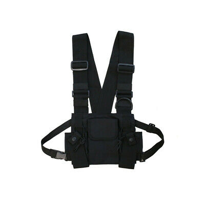 Radio Walkie Talkie 3 Pocket Chest Pack Bag Harness with Zipper for Motorol A4H6