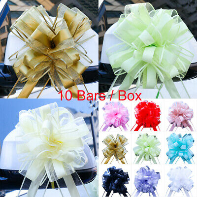 10 LARGE Ribbon Bows assorted colours easy pull flowers ribbons party decoration