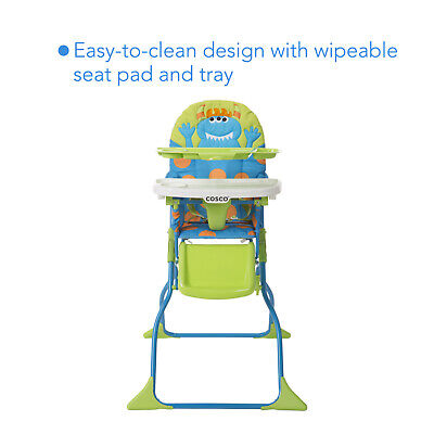 Cosco Simple Fold Deluxe High Chair 3-Position Tray Easy-to-clean, Monster Syd