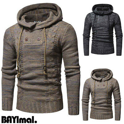 Mens Knitted Hooded Long Sleeve Sweater Winter Casual Slim Jumper Pullover Tops