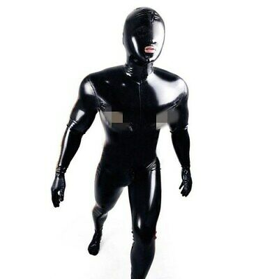 Latex Rubber Catsuit Cosplay Schwarz Fashion Gummi Mask Bodysuit Cosplay S-XXL